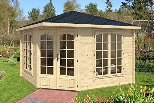 Alpholz 5-Eck Gartenhaus Josephine-40 B aus Massiv-Holz | Gerätehaus mit 40 mm Wandstärke | Garten Holzhaus inklusive Montagematerial | Geräteschuppen Größe: 352 x 352 cm | Spitzdach