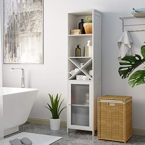 Tiptiper Tall Bathroom Storage Cabinet, Freestanding Linen Tower Cabinet with 3 Tier Shelves & Removable X-Shaped Stand, Space Saving Floor Cabinet with Tempered Glass-Door, White, 64