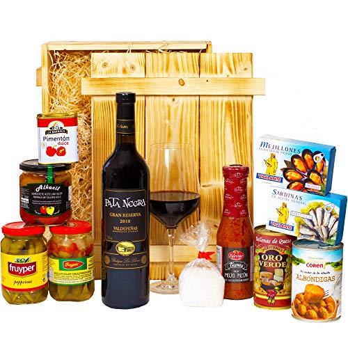 Geschenkset Sevilla | Großer Spanien Geschenkkorb mit Wein, spanische Tapas Spezialitäten & Holzkiste | Präsentkorb spanisch für Frauen & Männer