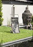 greemotion Servierwagen Manila grau, Rollwagen mit abnehmbarem Tablett, Küchenwagen für Draußen, wetterfester Rollwagen mit Getränkehalter, Beistellwagen einfach zusammenklappbar, Servicewagen robust - 3