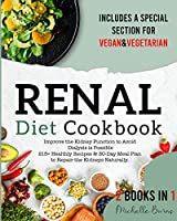 Renal diet Cookbook: Improve the Kidney Function to Avoid Dialysis is Possible. 215+ Healthy Recipes & 30-Day Meal Plan to Repair the Kidneys Naturally. Include a Special Section for Vegan & Vegetarian