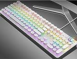 YPJKHM Teclado para computadora portátil Juego de Mouse, Teclado mecánico Teclado para Juegos Eje Verde Carpa metálica 104 Teclas Tecla Completa sin Pulsar una tecla Modo Dual-White