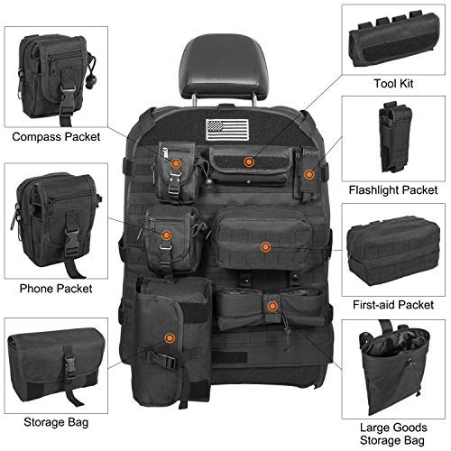 Universal Seat Cover Case with Organizer Storage Muti Pocket For Jeep Wrangler JK JL Unlimited CJ YJ Cherokee Rubicon Ford F150 Ridgeline Toyota Chevy Dodge Seat Protector Multiple Pockets Black&White