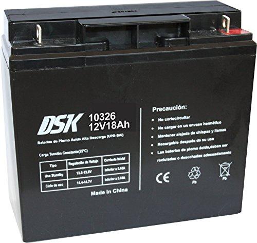DSK 10326 - Batería de Plomo ácido Recargable de 12V 18Ah Ideal para Sistemas de Alarma de Seguridad, Iluminación de Emergencia, Equipos Eléctricos OEM, Sistemas SAI, Movilidad Eléctrica, Negro