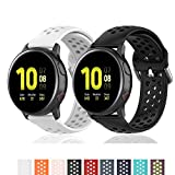 Geageaus Replacement Band for Samsung Galaxy Watch Active 2 40mm/ 44mm,20mm Silicone Quick Release Sport Strap Breathable Wristband for Galaxy Watch 42mm/Gear S2/Gear Sport (Black+White, 20mm)