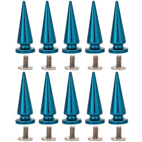 HEEPDD 10 Unids 10x26 MM de Gran Tamaño Cono Picos Remaches Punk Stud Tornillo Forma de Árbol Picos Traseros para DIY Zapatos de Cuero Chaqueta Craft Bolsa de Ropa(Azul)