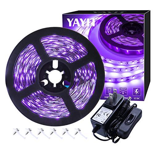 YAYIT 20ft LED UV Black Light Strip Kit,360 Units UV Lamp Beads,12V Flexible Blacklight Fixtures, 6m LED Ribbon for Indoor Home Bedroom Decoration Fluorescent Dance Party,Non-Waterproof