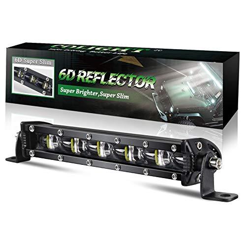 BraveWAY LED Bar 4x4 Thin 20cm 6D Reflector Delgado Luces de rampa LED adicionales para Quad Building Site Car Truck SUV ATV Tractor Boat (9610Z-7 pulgadas)