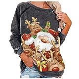 Yue668 Jersey de manga larga para mujer, estampado de Navidad, cuello...