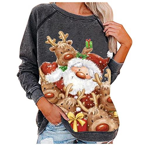 Sudaderas de Navidad ligeras con cuello redondo y manga larga para mujer, 11#, L