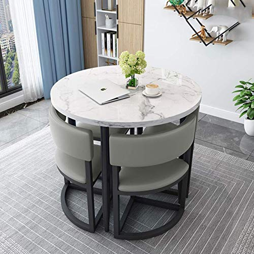 N/Z Home Equipment Light Luxus Marmor Esstisch und Stuhl Kombination Modern Simple Household Round Small Family Esstisch und Tisch Geeignet für Lounge Wohnzimmer Büro Couchtische (Farbe: D)