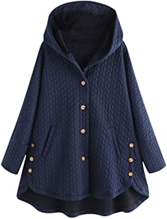 Plus Size Buttons Coat, QIQIU Womens Hooded High Low Long Sleeve Casual Pockets Hoodie Loose Ruffle Hem Outwear