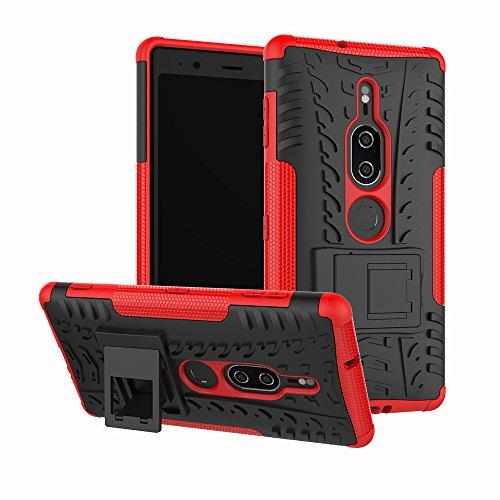 SCIMIN Capa premium para Sony Xperia XZ2, capa híbrida premium para Sony Xperia XZ2, camada dupla à prova de choque, capa rígida híbrida resistente com suporte para Sony Xperia XZ2 Premium de 5,8 polegadas