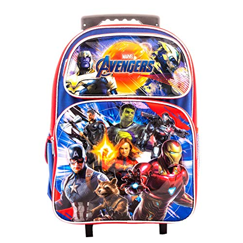 "Avengers EndGame Super Hero 16"" Rolling Backpack Book Bag Travel Case AV00972"