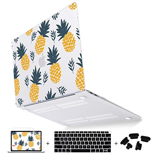 Mektron for New MacBook Air 13 Inch Case 2018 Release A1932,Matte Plastic Hard Shell Cover for Mac Air 13.3' with Retina Dispaly & Touch ID,Pineapples