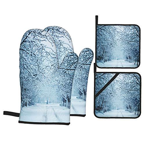 Juego de 4 Guantes y Porta ollas para Horno Resistentes al Calor Paisaje de Invierno con Nieve para Hornear en la Cocina,microondas,Barbacoa