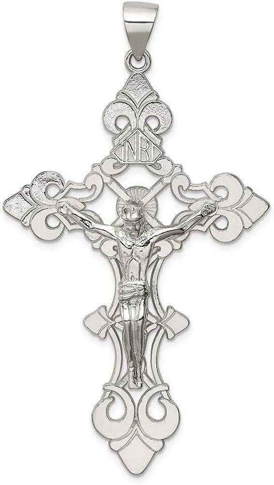 Manufacturer OFFicial shop Sterling Silver Polished Large Special sale item Pendant Crucifix Inri
