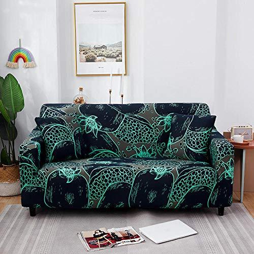 Funda de sofá de 3 Plazas Funda Elástica para Sofá Poliéster Suave Sofá Funda sofá Antideslizante Protector Cubierta de Muebles Elástica Patrón Azul Funda de sofá