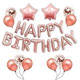 Banner de globos de feliz cumpleaños, 16 pulgadas de oro rosa con letras, globos de confeti, látex, estrellas, globos, decoración de fiesta de cumpleaños para niños, niñas, hombres, mujeres
