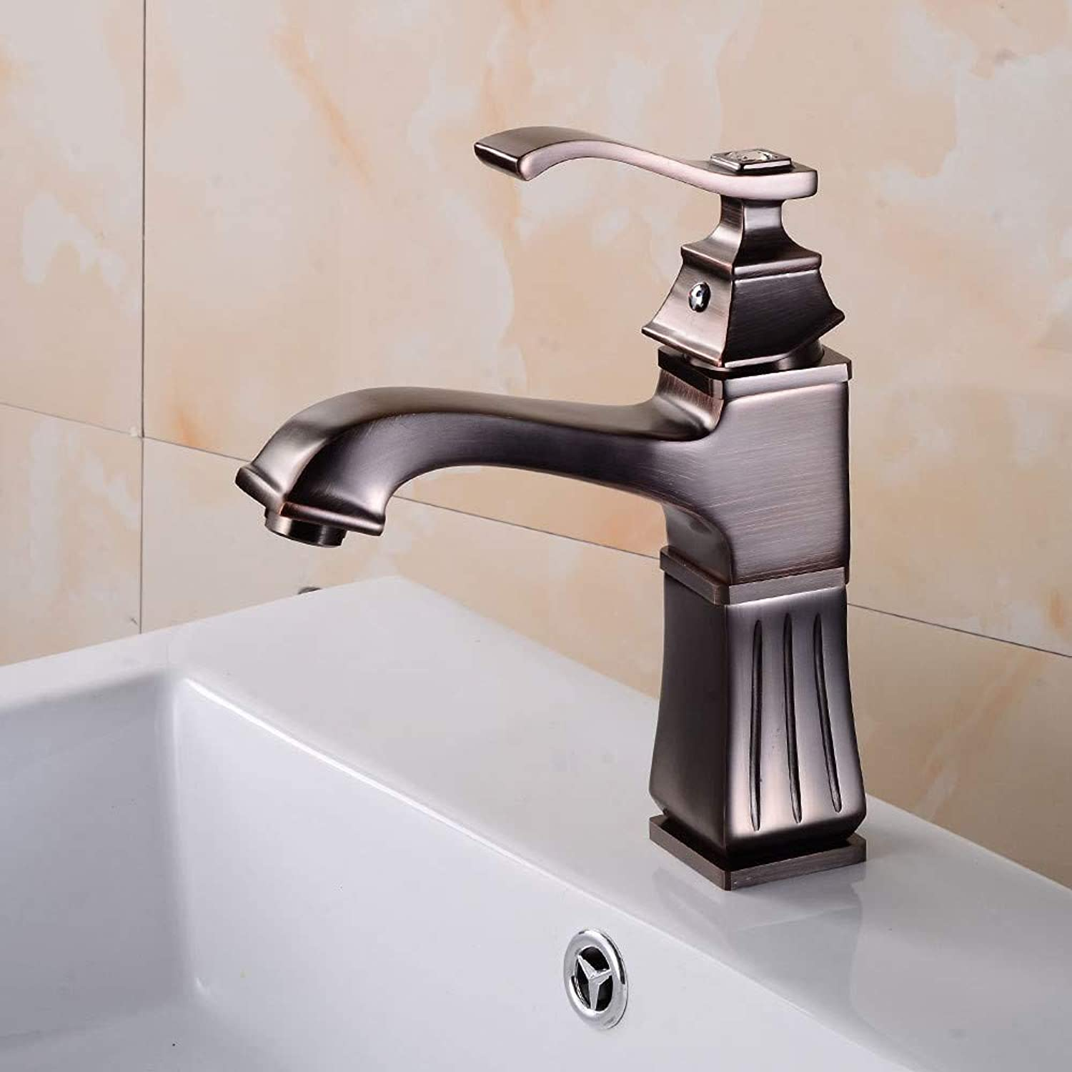YAWEDA Orb Basin Faucet Square Hot and Cold Water Mixer Table Lower Basin Bathroom Sink Faucet Single Hole Single Handle with Aerator Hotel Bathroom Faucet