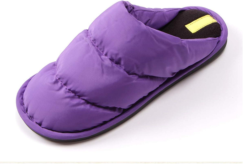 SANOMY Unisex Winter Indoor Slippers Couple Down Home Floor shoes Non-Slip Waterproof Warm Bedroom Flats