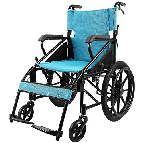 AOLI Wheelchair Portable Folding, Self-Propelled with Adjustable Foot Pedal Double Brake for Senior/Disabled Scooter Trolley
