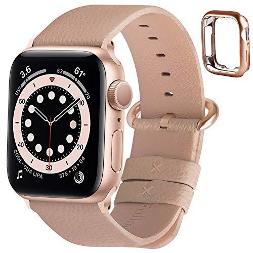 Fullmosa Correa de Apple Watch, 38 mm 40 mm 42 mm 44 mm Correa Compatible con iWatch, Correa de Cuero, Compatible con Apple Watch SE y Serie 6 5 4 3 2 1, Camel + Hebilla de Oro Rosa, 38mm/40mm