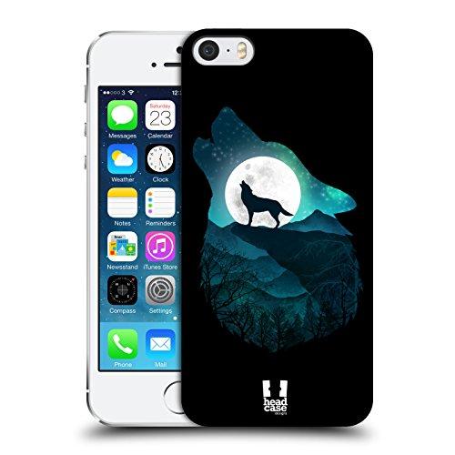 Head Case Designs Loup Animal Double Exposition Coque Dure pour l'arrière Compatible avec Apple iPhone 5 / iPhone 5s / iPhone Se 2016