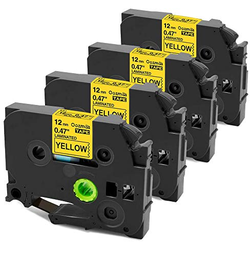 Oozmas Compatible Label Tape Replacement for Brother TZe-631 TZE631 Black on Yellow Tape 12mm 0.47 Inch Laminated Compatible with Brother P-Touch Label Tape PTD210 PTH110, 4-Pack