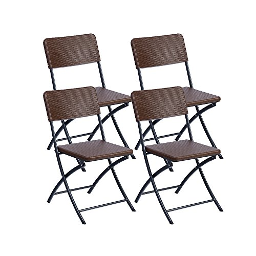 Resol Easy Rattan - Set de 4 sillas plegables, plástico, 54 x...