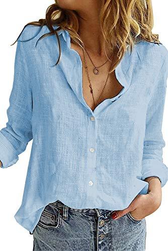 Uusollecy Bluse Damen Sommer, Langarm V-Ausschnitt Blusehemd, Casual Baumwolle Button-down Langarmshirt, Einfarbig Loose Oberteile Tops Shirts Für Frauen Teen Girls Blau XL