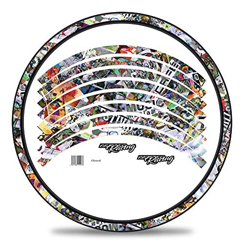 Finest Folia 16-teiliges Set Felgenrandaufkleber Sticker für Fahrrad Felgen in verschiedenen Designs Komplett Set für 27