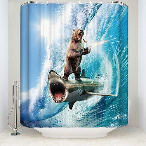 Dimmo duschvorhang Stilvolle Individuellkeit Hai Muster Dusche Vorhang verrückt Bär Dusche Vorhang wasserdichtes Bad dekorative duschvorhänge mit 12 Haken 71 x 71 Zoll.