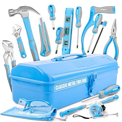 Hi-Spec 33-teiliges Einsteiger-Werkzeugset mit stabilem Metallwerkzeugkasten, echtem Handwerkzeug, Klauenhammer, Schraubendreher, Bügelsäge, Schutzbrille für junge Handwerker (Kinder und Jugendliche)