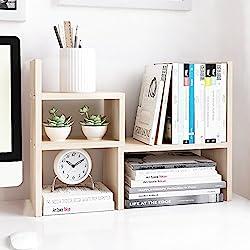 white storage shelf on desk