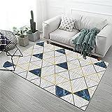 Xiaosua alfombras en Rollo Azul Sala de Estar Alfombra Azul borroso triángulo Simple Suave Alfombra Antideslizante Salones 80X120CM Alfombra habitacion 2ft 7.5''X3ft 11.2''