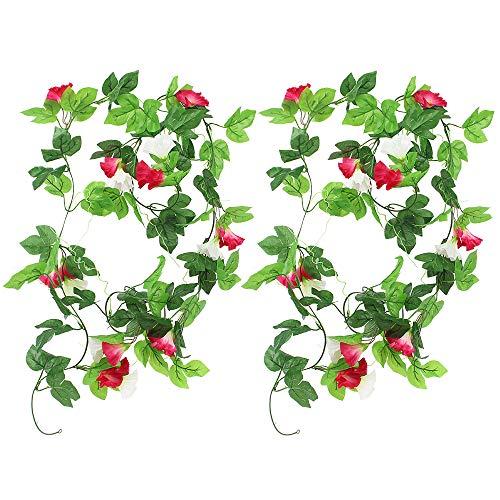 KingYH 2 Pieza 210cm Guirnaldas de Flores Artificiale Seda Gloria de la mañana con Hojas Verdes Fake Simulación Enredaderas Planta Colgar Vine Ratán para Decoración Bodas jardín Valla Escaleras-Rojo