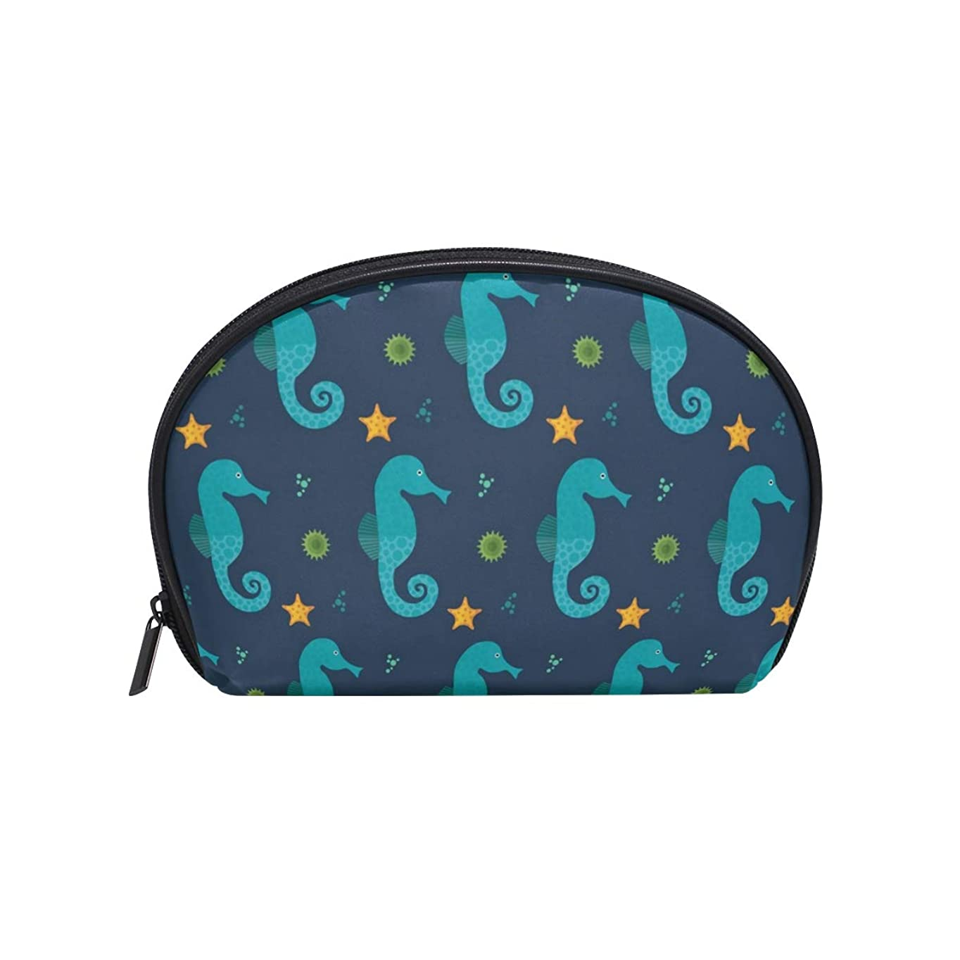 ご注意フリースにおい半月型 ひまわり海 化粧ポーチ コスメポーチ コスメバッグ メイクポーチ 大容量 旅行 小物入れ