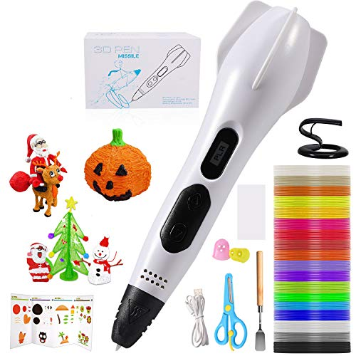 3D Pen for Kids, Intelligent 3D Printing Pen, 3D Drawing Pen with PLA Filaments, Compatible with PLA & ABS, Adjustable Speed Control, LCD Display, 3D Craft Pen Christmas Toys/Gift for Kids and Adults