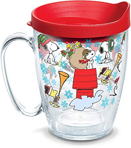 Tervis Peanuts Christmas Collage Insulated Coffee Mug with Lid, 16 oz, Clear