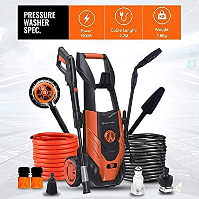 Indoor and Outdoor Cleaning Tools Mop Pressure Washer, 130Bars 1600W Full Copper Motor Pump Jet Washers, Car Washing Machine, Suitable for Vehicle, Garden. dljyy from dljxx