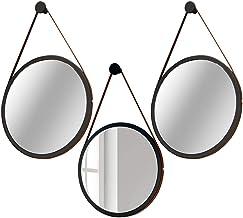 Kit 02 Espelhos Decorativo Redondo 67cm e 01 Espelho 54cm com Alça Adnet Escandinavo Preto - Lyam Decor