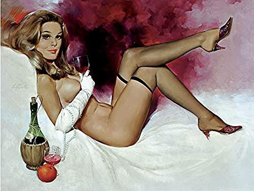 zzwwssff Hermosa Mujer acostada Bebiendo Vino Tinto Kit de Pintura de Diamante...