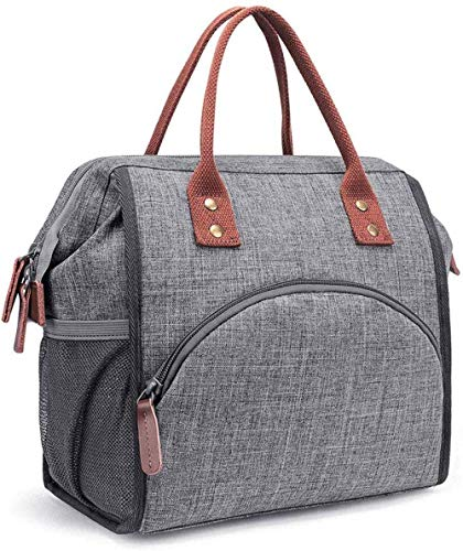 Bento Bag - Fiambrera aislada para almuerzo, para hombre, niño, niña, color gris