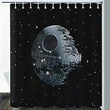 Gdmoon Planet Duschvorhang Todessterne Schwarz Grau Himmel Fancy Fantasy Galaxie abstrakte bunte Kunst Stoff Badezimmer Vorhang-Set mit 12 Haken 183 x 183 cm YLLMGD954