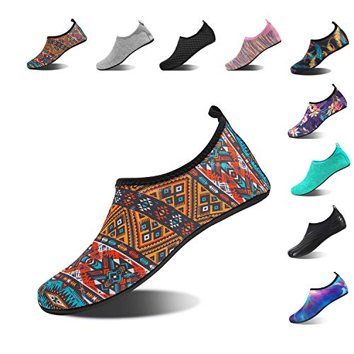 HMIYA Aqua Socks Beach Water Shoes Barefoot Yoga Socks Quick-Dry Surf Swim Shoes for Women Men (Bohemian-B, 38/39EU)