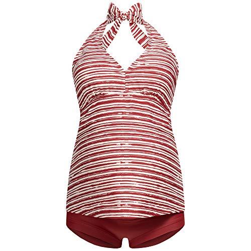 Neckholder-Umstands-Tankini-Schwangerschafts-Bademode | Zweiteiler-Badeanzug für Schwangere | Überbauchhose-Panty | Streifen-Muster-Uni | Übergrößen | UV-Schutz 50 | 7100 (XL, Rot-Gestreift)