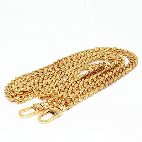 WEICHUAN 47' DIY Iron Flat Chain Strap Handbag Chains Accessories Purse Straps Shoulder Cross Body Replacement Straps, with Metal Buckles (Gold)
