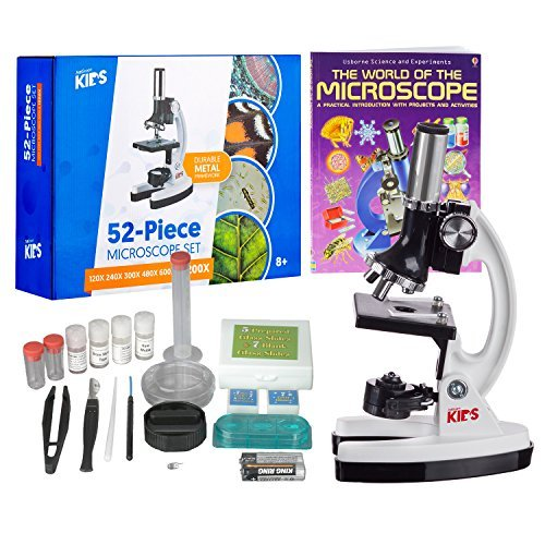 """AmScope 1200X 52-pcs Kids Student Beginner Microscope Kit with Slides, LED Light, Storage Box and Book""""The World of The Microscope"""""""