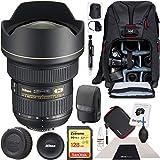 Nikon AF-S NIKKOR 14-24mm f/2.8G ED DSLR Camera Zoom Lens Kit with 128GB SDXC Memory Card and Deco Gear Photography Backpack Professional Bundle